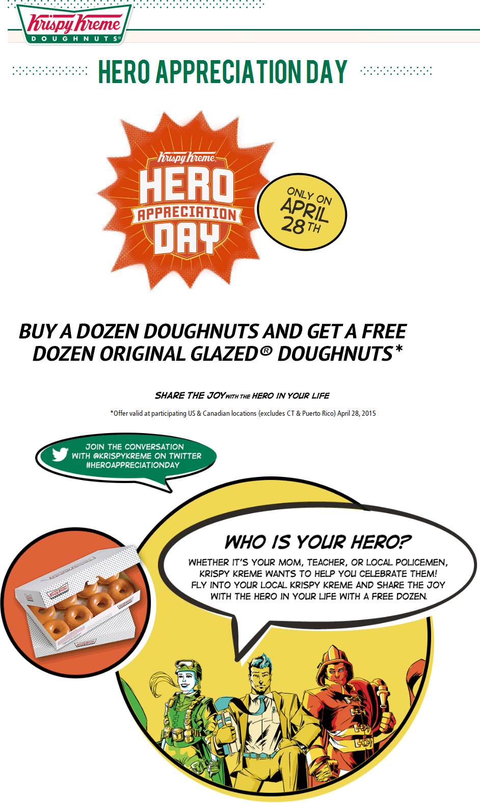 Pinned April 22nd Second dozen doughnuts free the 28th at