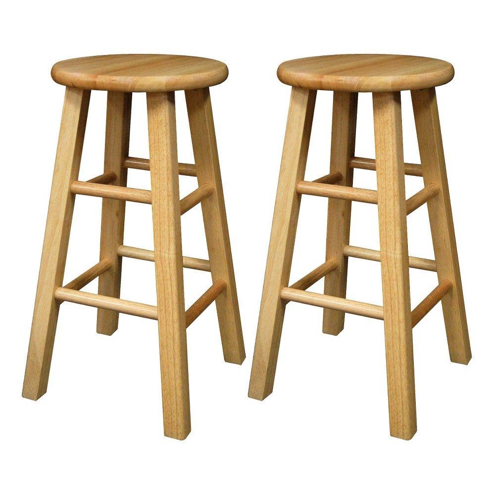 Set Of 2 29 Wood Backless Hardwood Barstools Natural Winsome Winsome Wood Bar Stools Backless Bar Stools