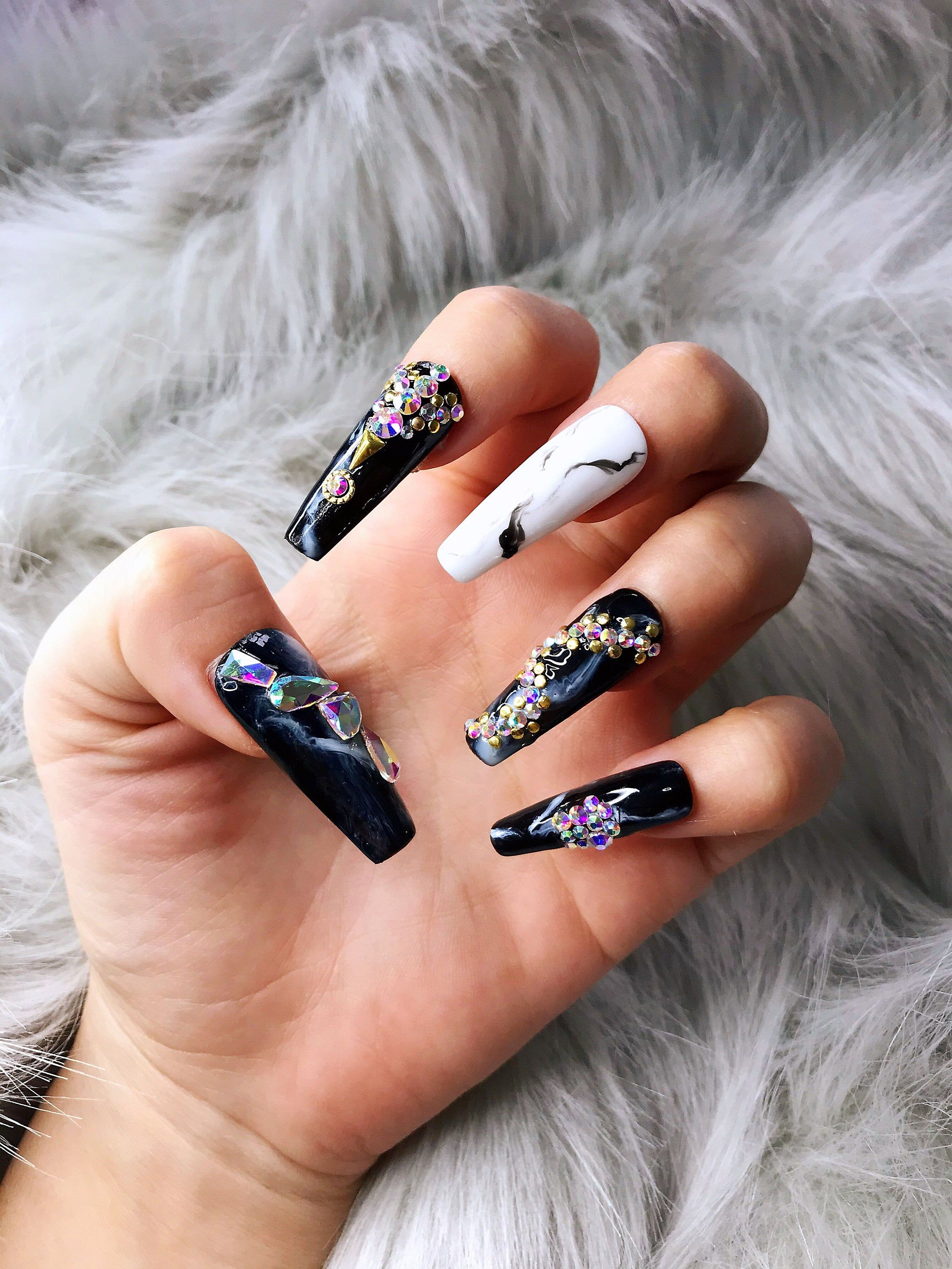 Marble Long Coffin Crystal Accent Press On Nails Press On Etsy In 2020 Press On Nails Glue On Nails Fake Nails
