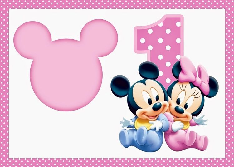 Birthday Invitation Card Design Blank Mickey And Minnie 1st