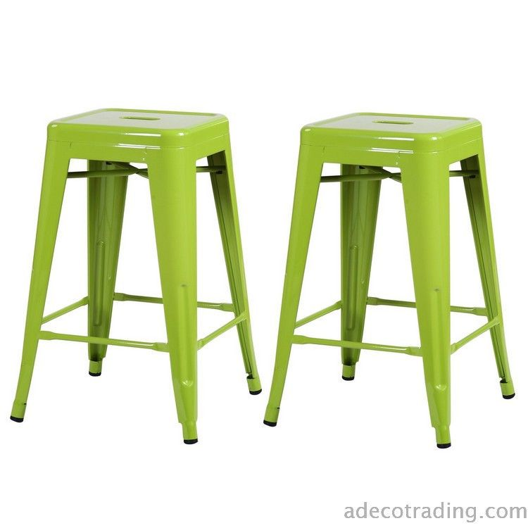 Furnistars 24 Inch Green Glossy Metal Tolix Style Chair Counter Stool (Set  Of