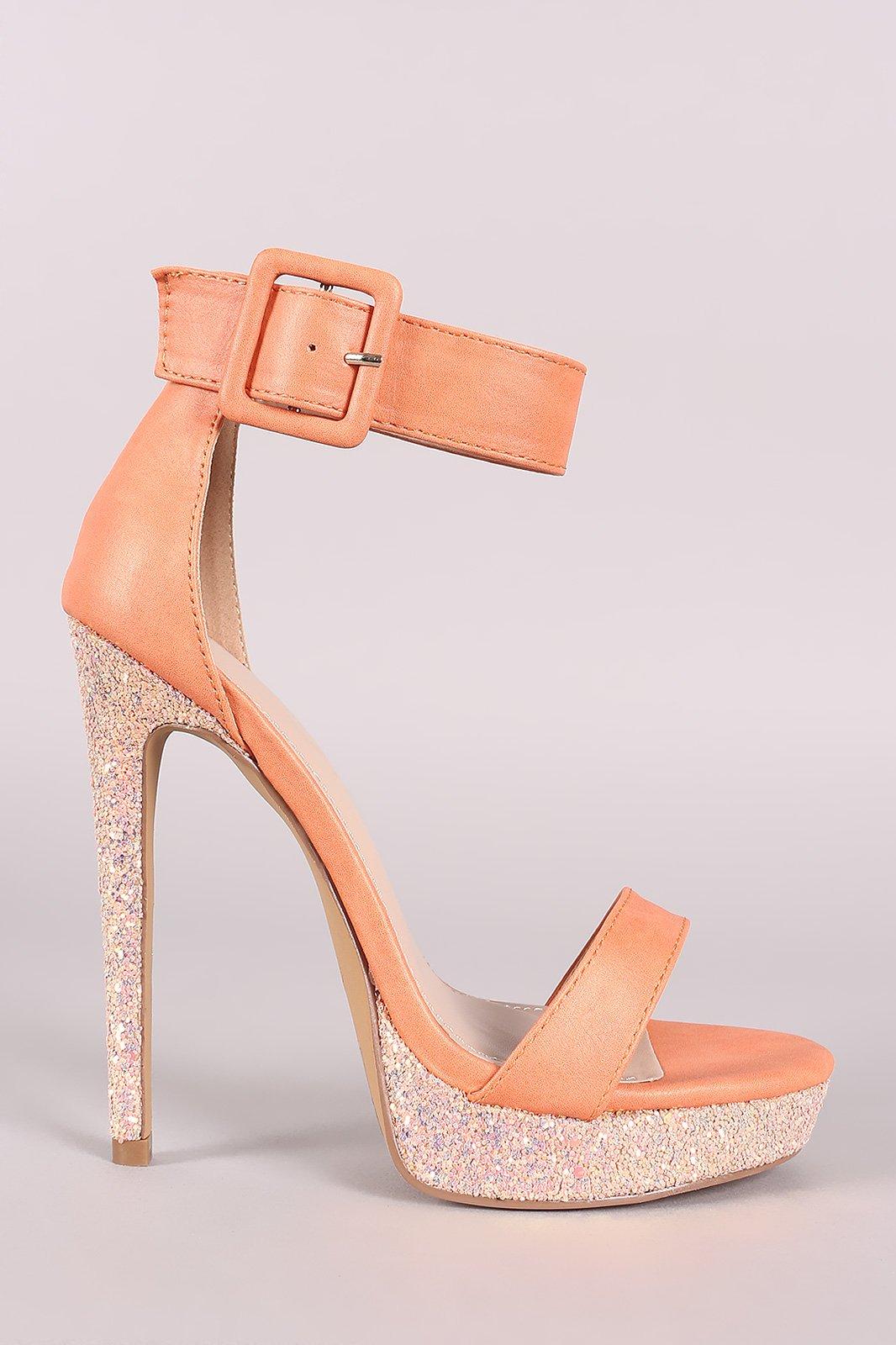 0e7177d4cd9 Shoe Republic LA Buckled Ankle Strap Glitter Platform Heel ...