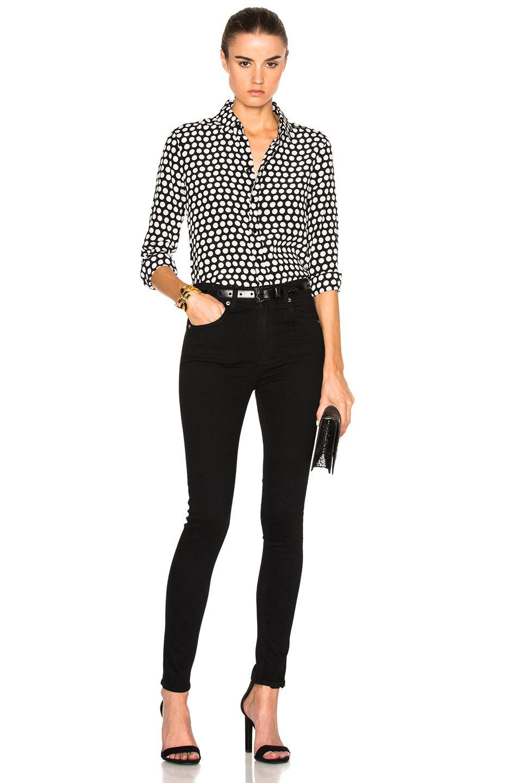 Image 6 of Saint Laurent Polka Dot Crepe de Chine Blouse in Black & Off White