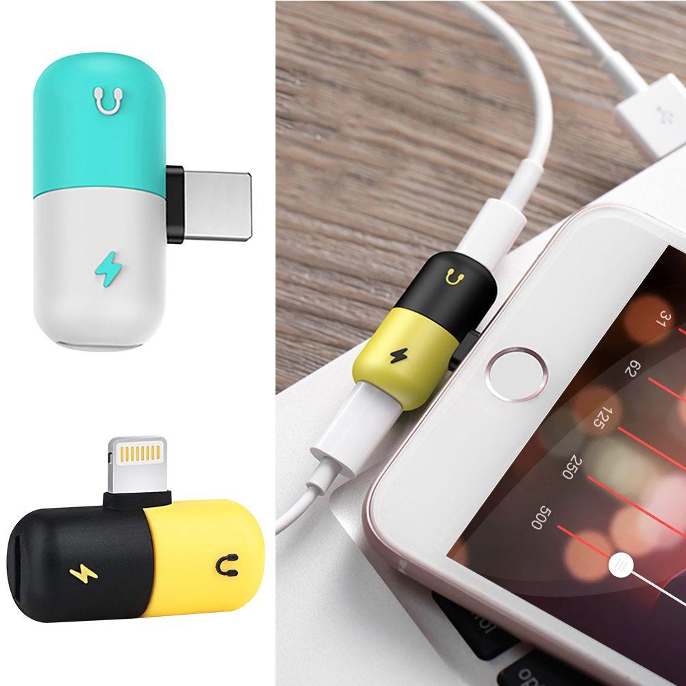 Creative 2 In 1 Mini Capsule Design Iphone X 8 7 Plus Charging Audio Adapter Adapter Audio Iphone