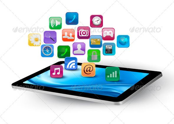 Colorful application icons in a tablet application icon icons and colorful application icons in a tablet ccuart Image collections