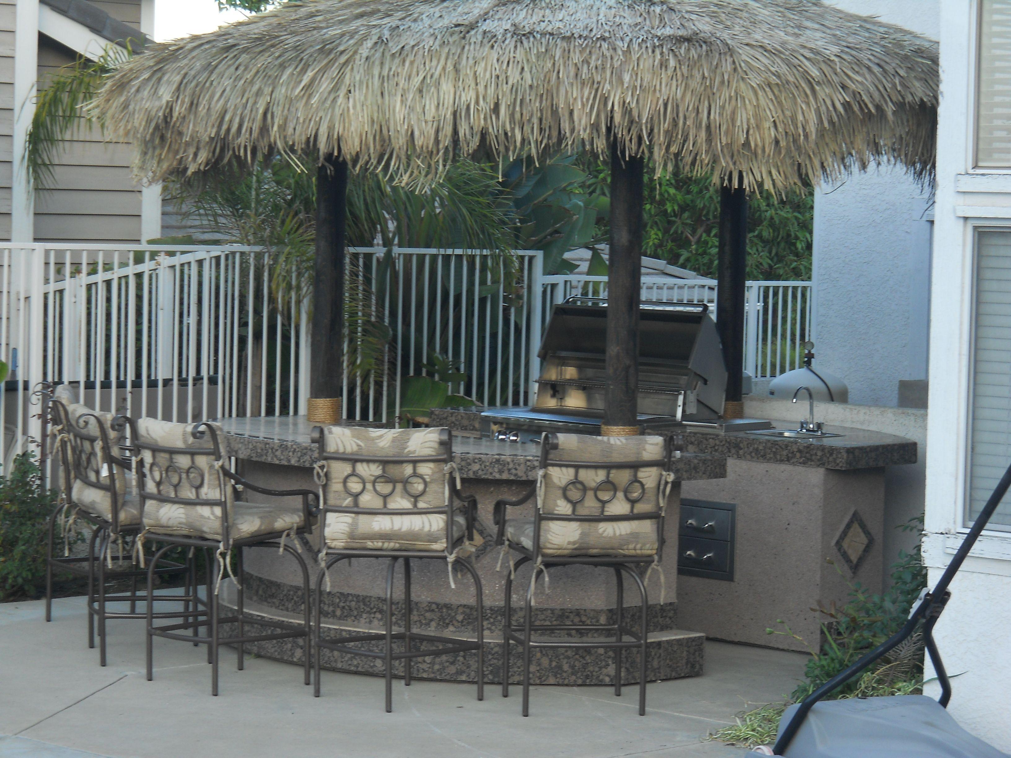 Two Piece BBQ Island With Grill, Doors, Drawers, Mini Fridge, Bar ...