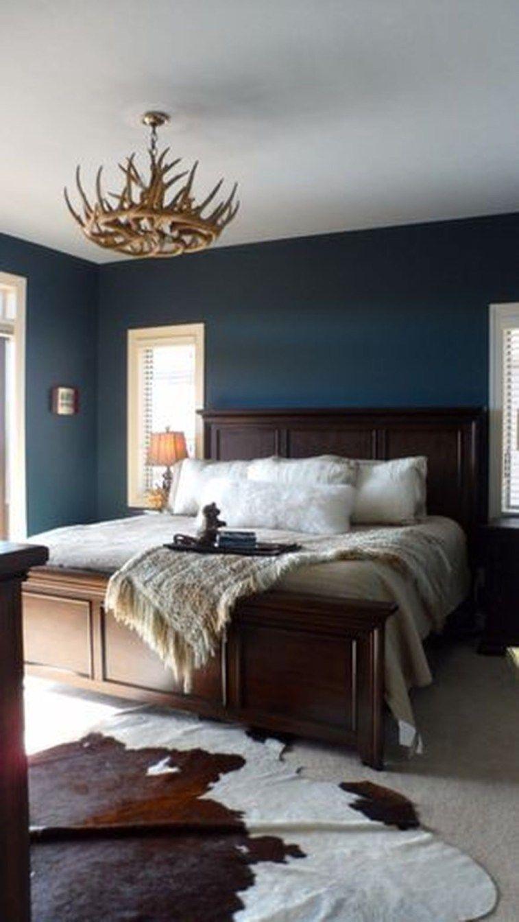 Inspiring Dark Blue Bedroom Walls Ideas 43 Rustic Master Bedroom