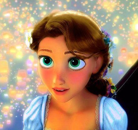 Made By Mary N Rapunzel With Brown Hair Blue Eyes And Blue Dress Disney Adoption Modern Disney Disney Kids