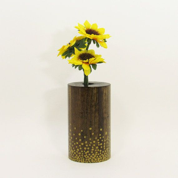 Bud Vase Wood Vase Wood Test Tube Vase One Flower Vase Small Wooden Vase Centerpiece Painted Vase Rustic Home Home Decor Gold Bud Vases Bud Vase Centerpiece Vase