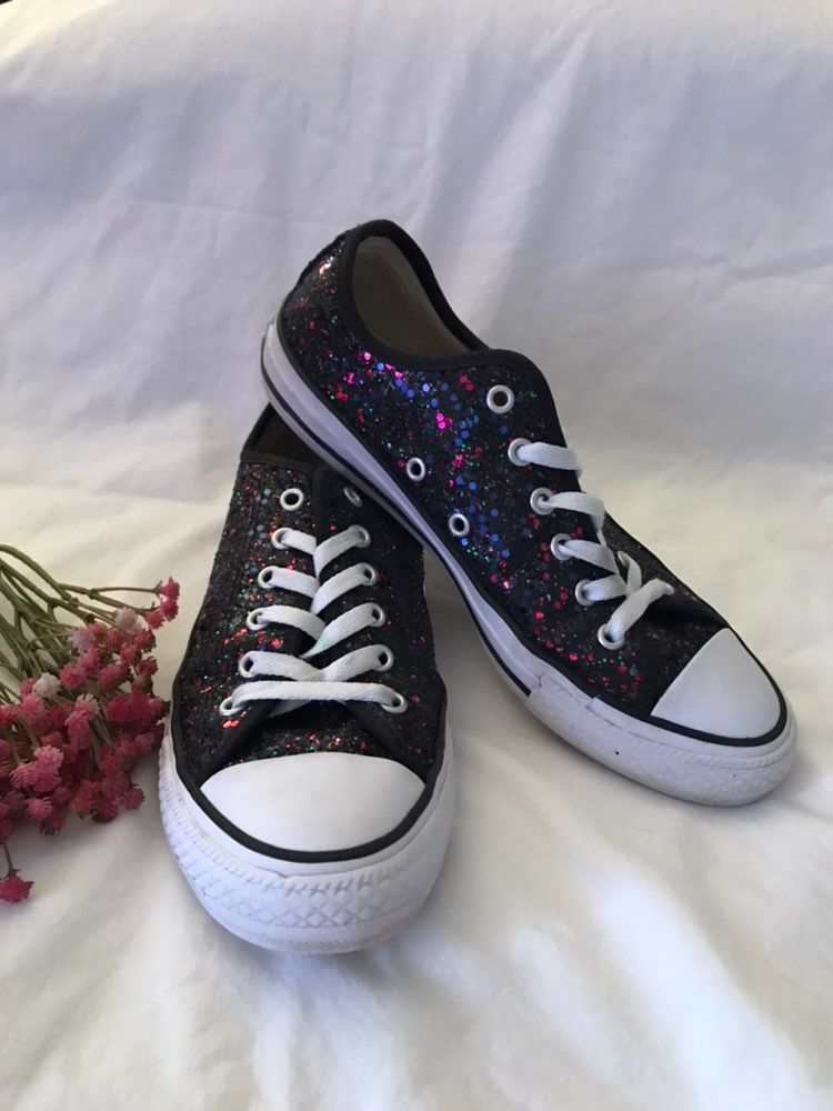 e7ad405359c6 Converse All-Star Black Glitter Sneakers These are so cute. These could  look great