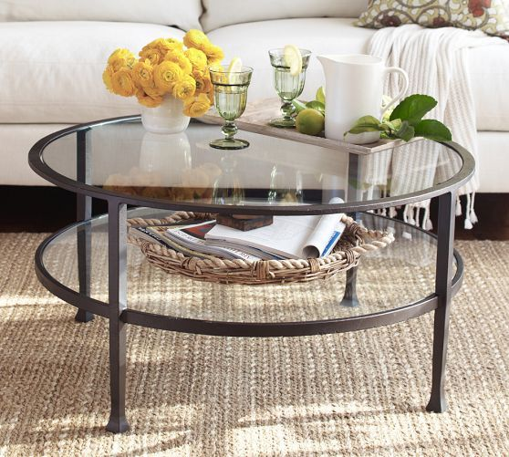 coffee table for smaller seating area in living room Tanner Round Coffee  Table | Pottery Barn - Transparent Glass Coffee Table By Modway Modern Living Rooms