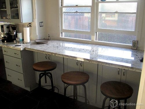 Breakfast Bar Facing Windows With Storage Country