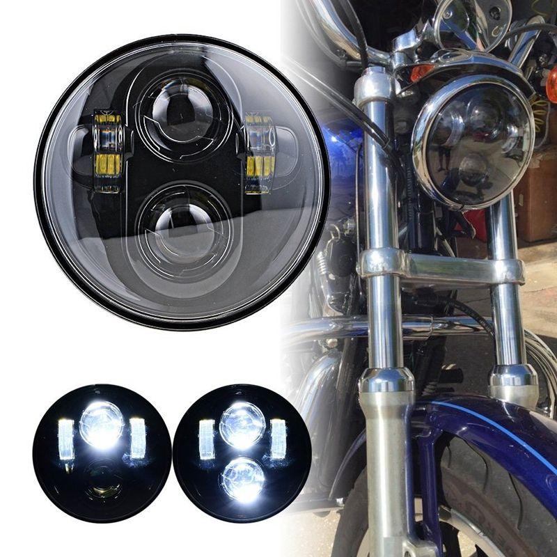 Harley 5-3//4 5.75/'/' Black Halo Headligh Projector LED Headlamp For Dyna Sportste