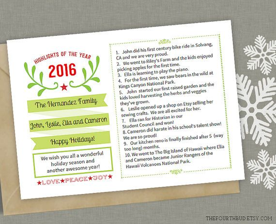 5x7   Year In Review   Christmas Letter Template in PDF for Adobe - holiday newsletter template