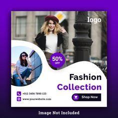 Modelo De Psd De Mídia Social De Quadrados De Venda De Moda