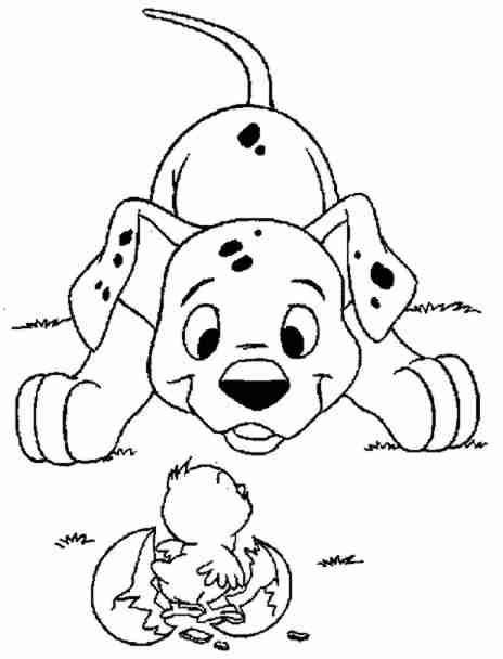Dibujo Para Colorear De Un Perro Dalmata Y Un Pollito Dibujos Para Colorear Colorear Disney Dibujos De Perros