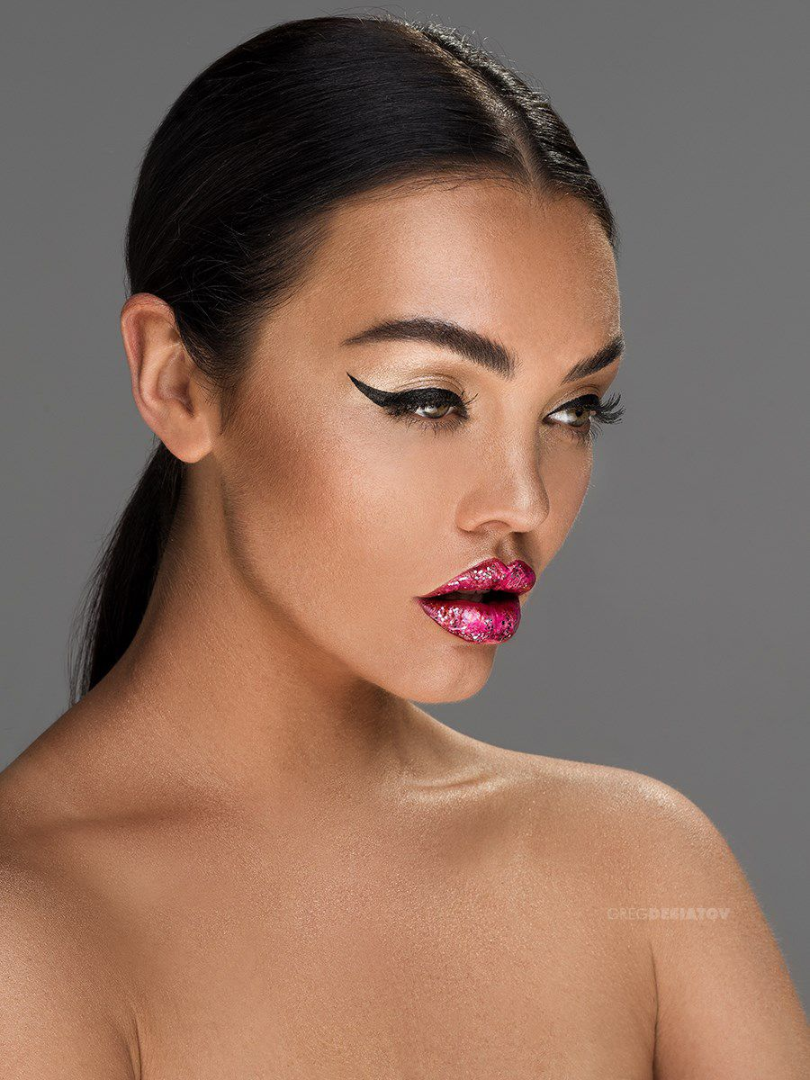 Makeup by Jaynelle Lording Featuring winged eyeliner, lip