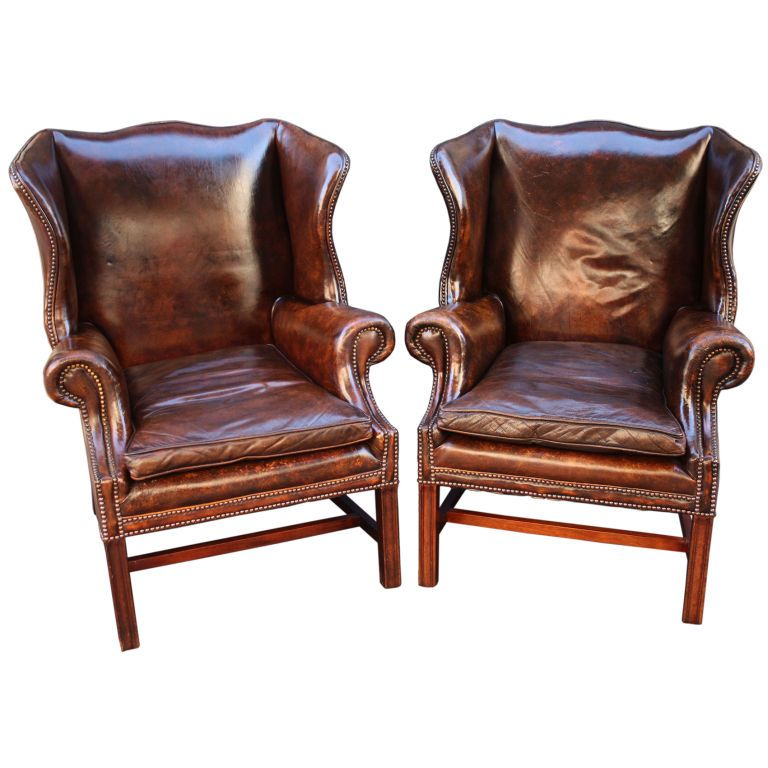 Pair of English Leather Wingback Chairs (Sold Individually) - Pair Of English Leather Wingback Chairs (Sold Individually