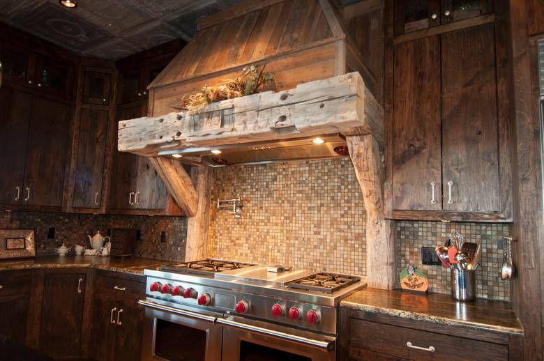 Range Hood From Reclaimed Trestle Wood By Trestlewood Rustic Kitchen Cabin Kitchens Range Hood
