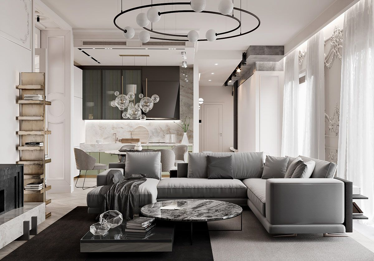 Two Neoclassical Home Interiors In Shades Of Grey   House ...