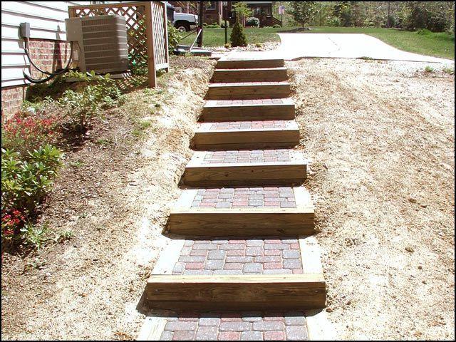 Hill Side Dyi Step Idea Brick And Wood Hillside Step Stone