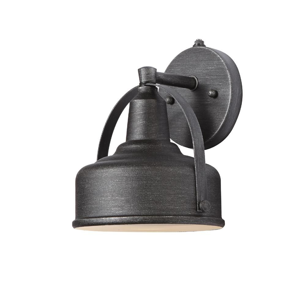 Hampton bay in weathered pewter small outdoor led wall lantern