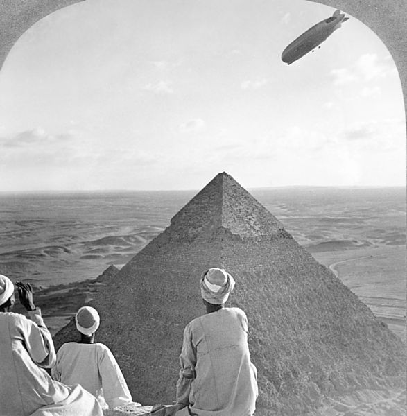 File:Graf Zeppelin over Pyramid2.jpg Two of the great wonders  of the world.