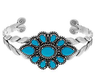 Unisex Natural Turquoise cabs set in 950 Sterling Silver cuff Bracelet Handmade.