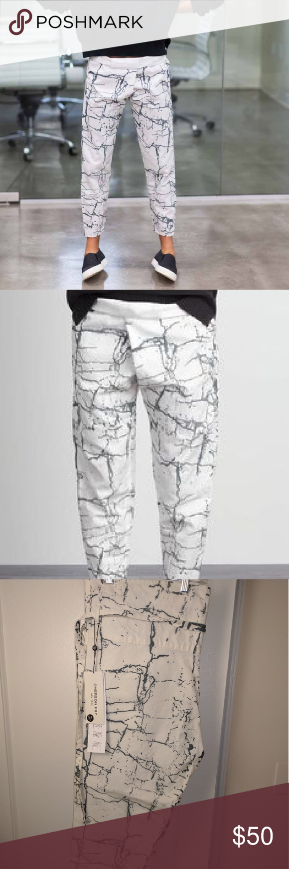 Emerson Fry Crackle print cotton pants Emerson Fry's cool foldover wrap pant in the white-black crackle print, dyed in India. Great for resort, spring, and summer. Ankle length, 24-inch inseam.  Will fit size 6-8.  New with tags. Emerson Fry Pants Ankle & Cropped #emersonfry