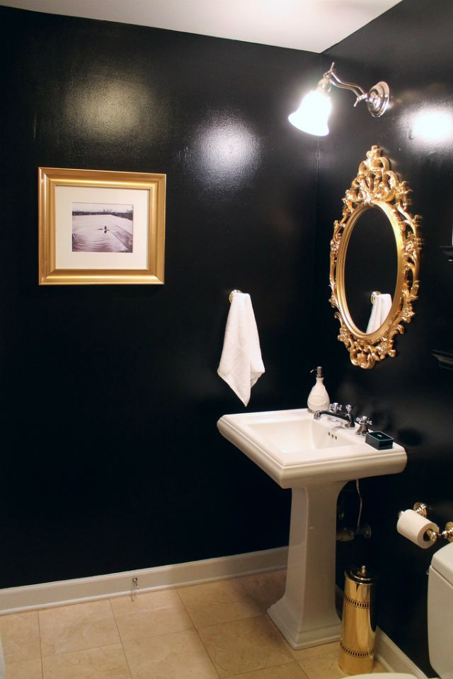 mint love social club: {black & gold guest bathroom ...