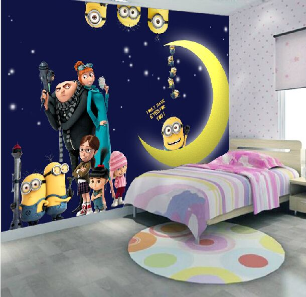 Despicable Me Minions Wallpaper Home Decor Fiber Anime Background