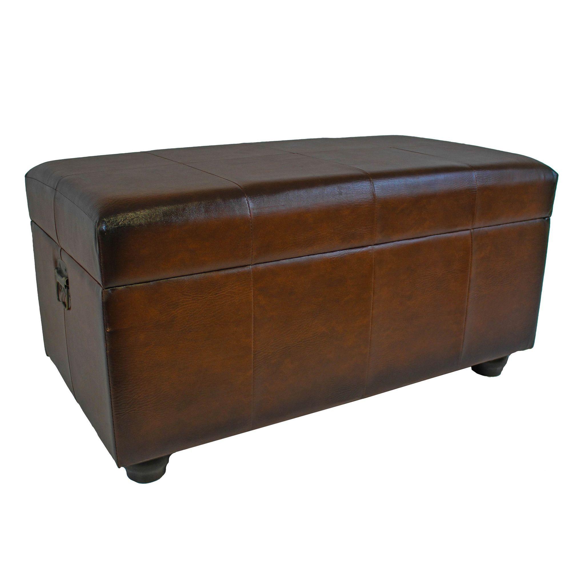 International Caravan Faux Leather Bench Trunk w/Lid