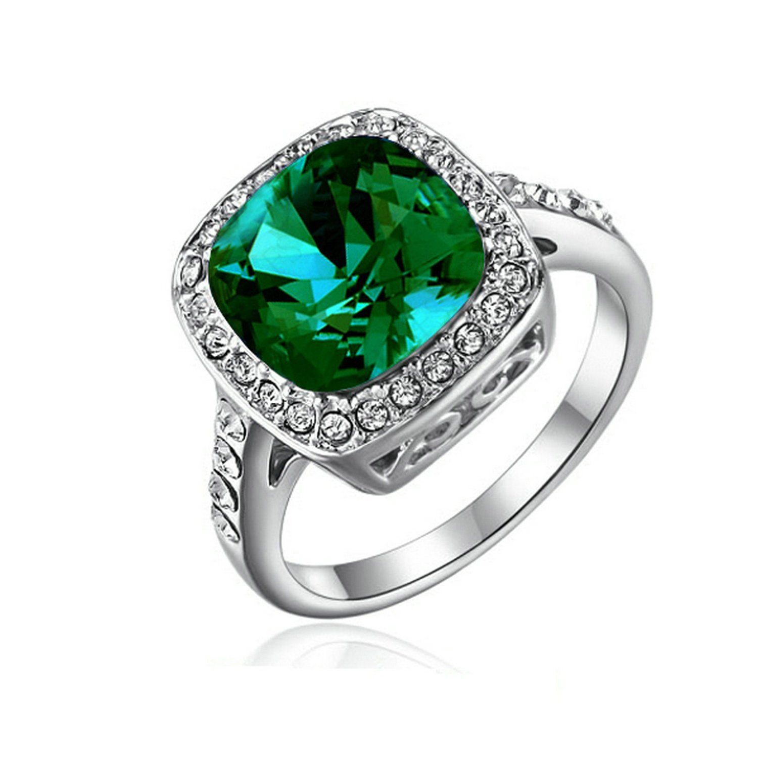 Amazon.com: [Retro Series] Yoursfs 1.5ct Emerald Green Gemstone with Austrian Crystal 18k White Gold Plated Valentine's Day Gift Ring: Jewelry