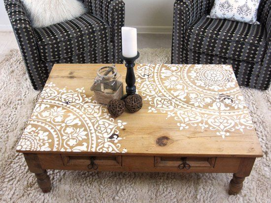 Curbside Table Makeover Stencil Furniture Painted Furniture