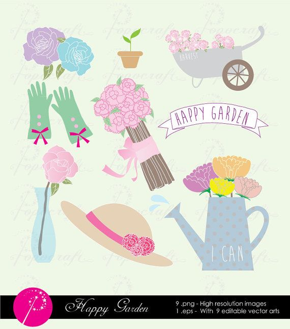 Set Of Cute Garden Floral Clipart. Flowers U0026 Gardening Tools Like Watering  Can, Flower Carts, Plants For Instant Download.