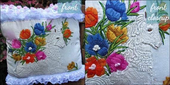 Magical Unicorn  Vintage Crewel & Chenille Decorative Accent Pillow