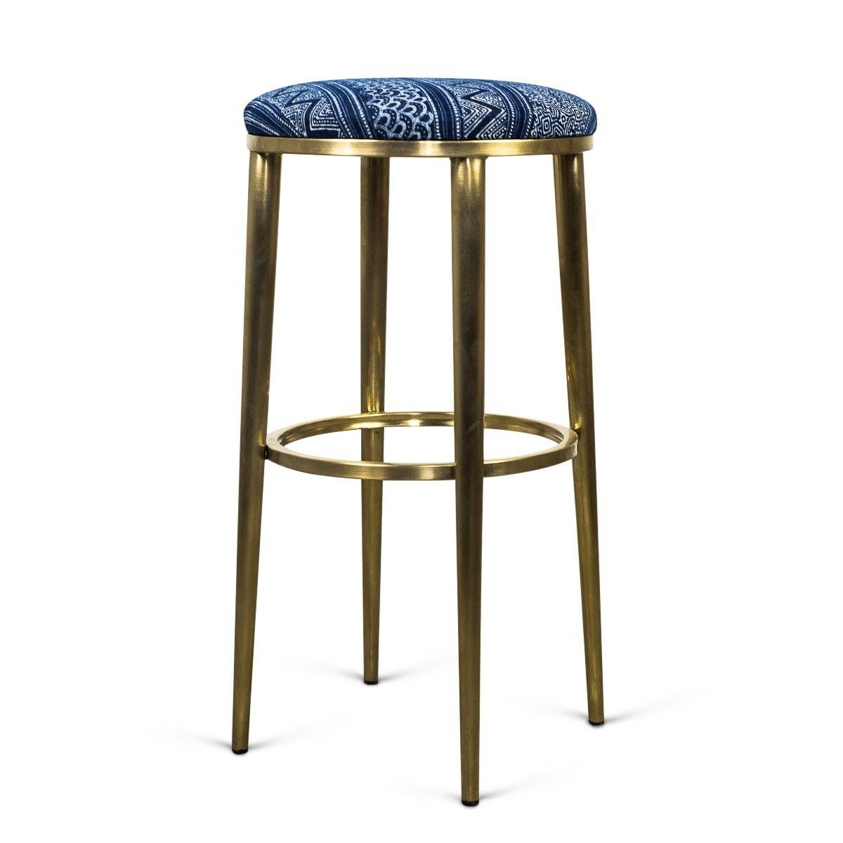 Cape Town Bar Stool in Hand Printed Indigo Mud Cloth   Bar stools ...