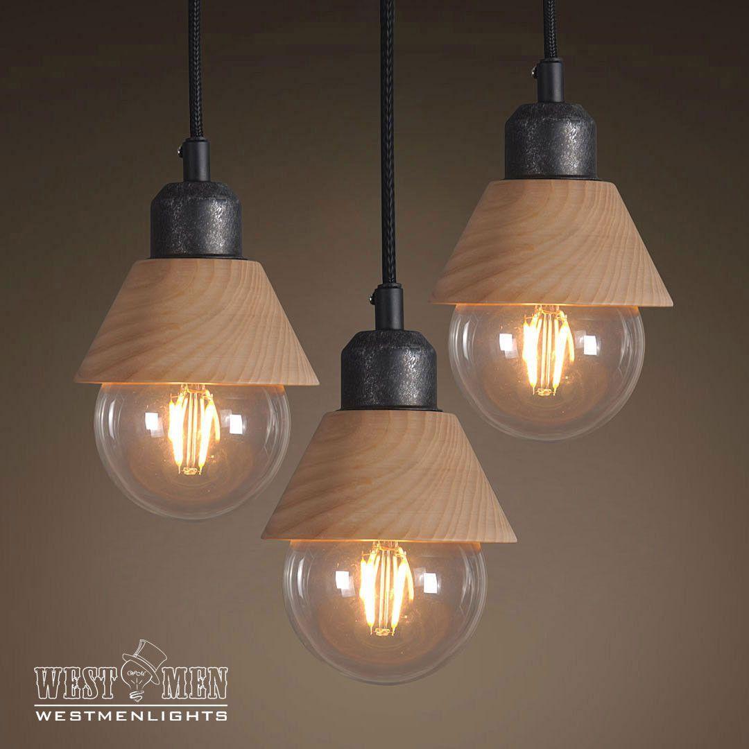 Wooden Mini Pendant Light Pack Of 3