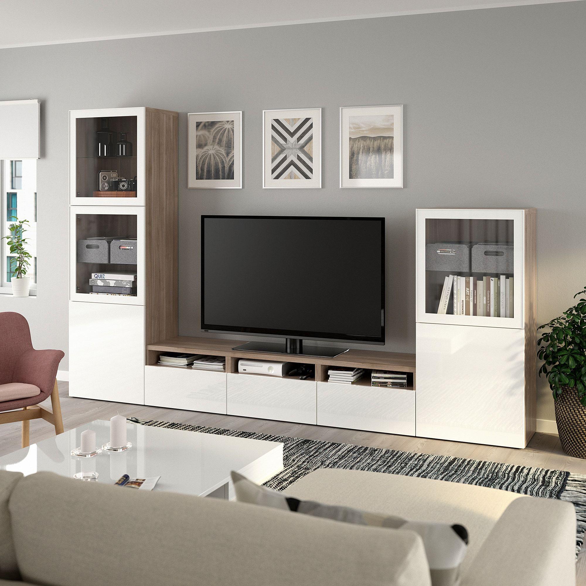 IKEA – BESTÅ TV storage combination/glass doors, Walnut effect light gray/selsviken high gloss/white clear glass