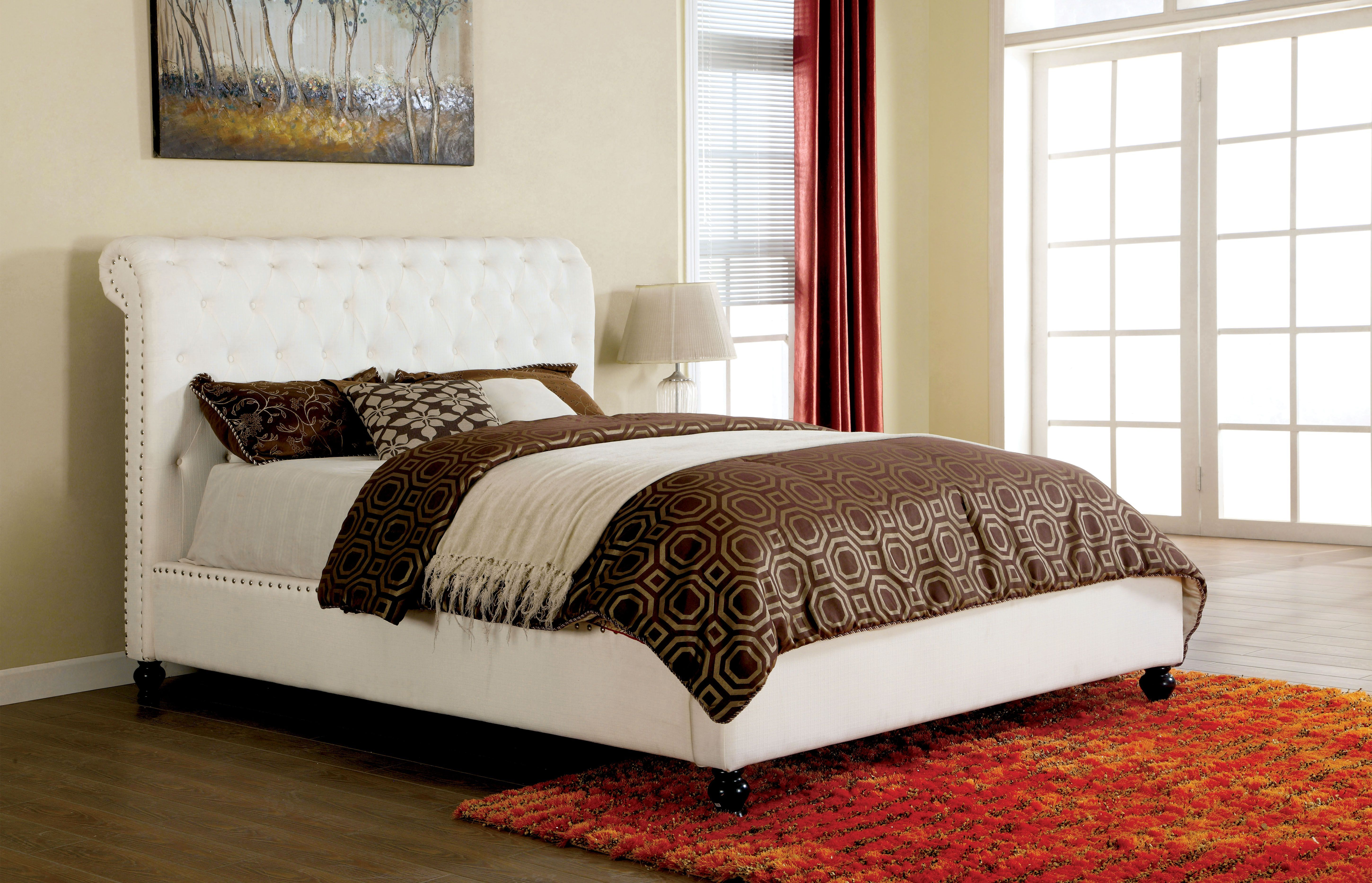 Furniture of America Reina Button Tufted Leatherette Platform Bed ...