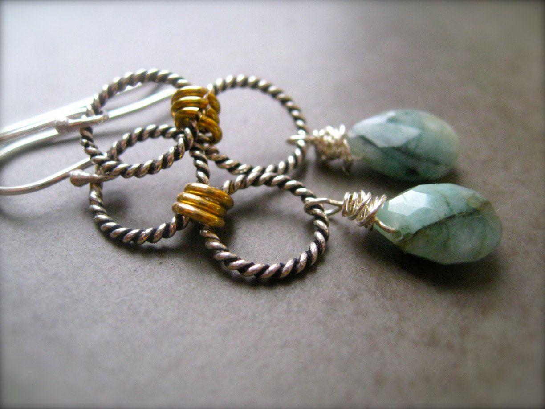 Emerald Earrings, Gemstone Earrings, Silver Earrings, Artisan Earrings,  Via Etsy