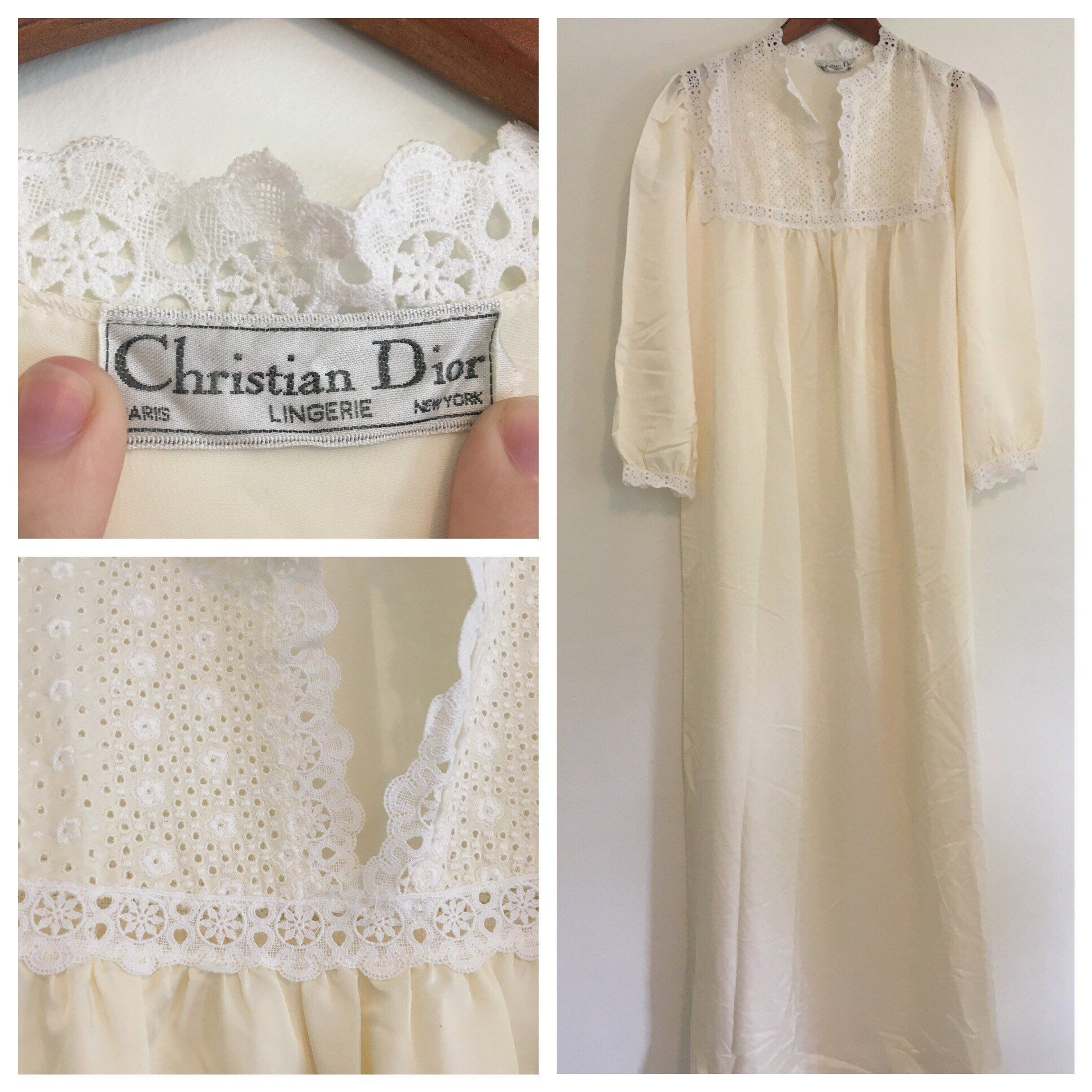 40d3aee5c20 Vintage 70s Ivory Christian Dior Lingerie Night Gown Nightie Silky Lace  Flowy Long Sleeve Maxi Medium