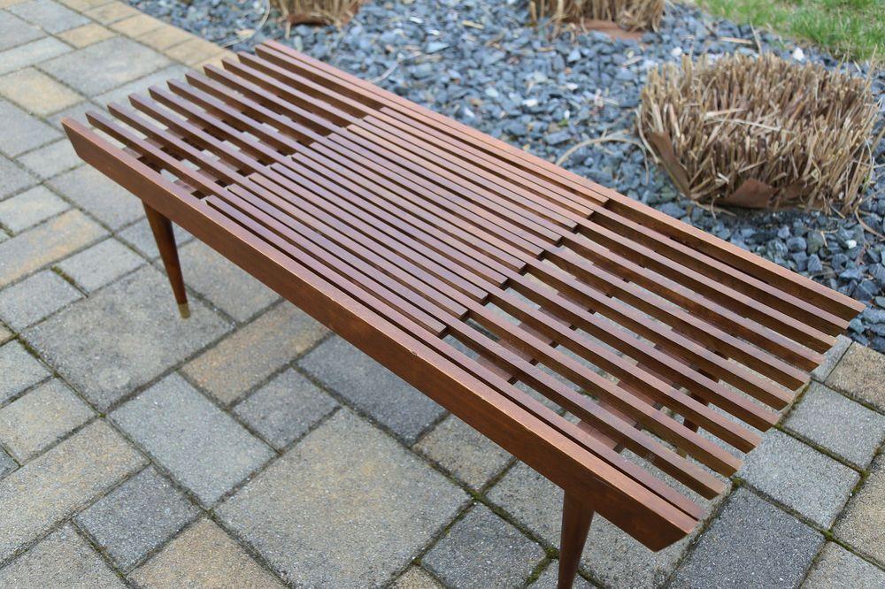 Vintage Mid Century Modern Slat Coffee Table Bench Danish Style Expandable Mid Century Modern Wood Bench Modern Wood Bench Mid Century Modern Wood