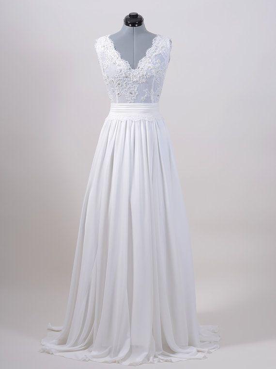 Spitzen-Brautkleid, Hochzeitskleid, Brautkleid, Sleevelss V-Rücken ...