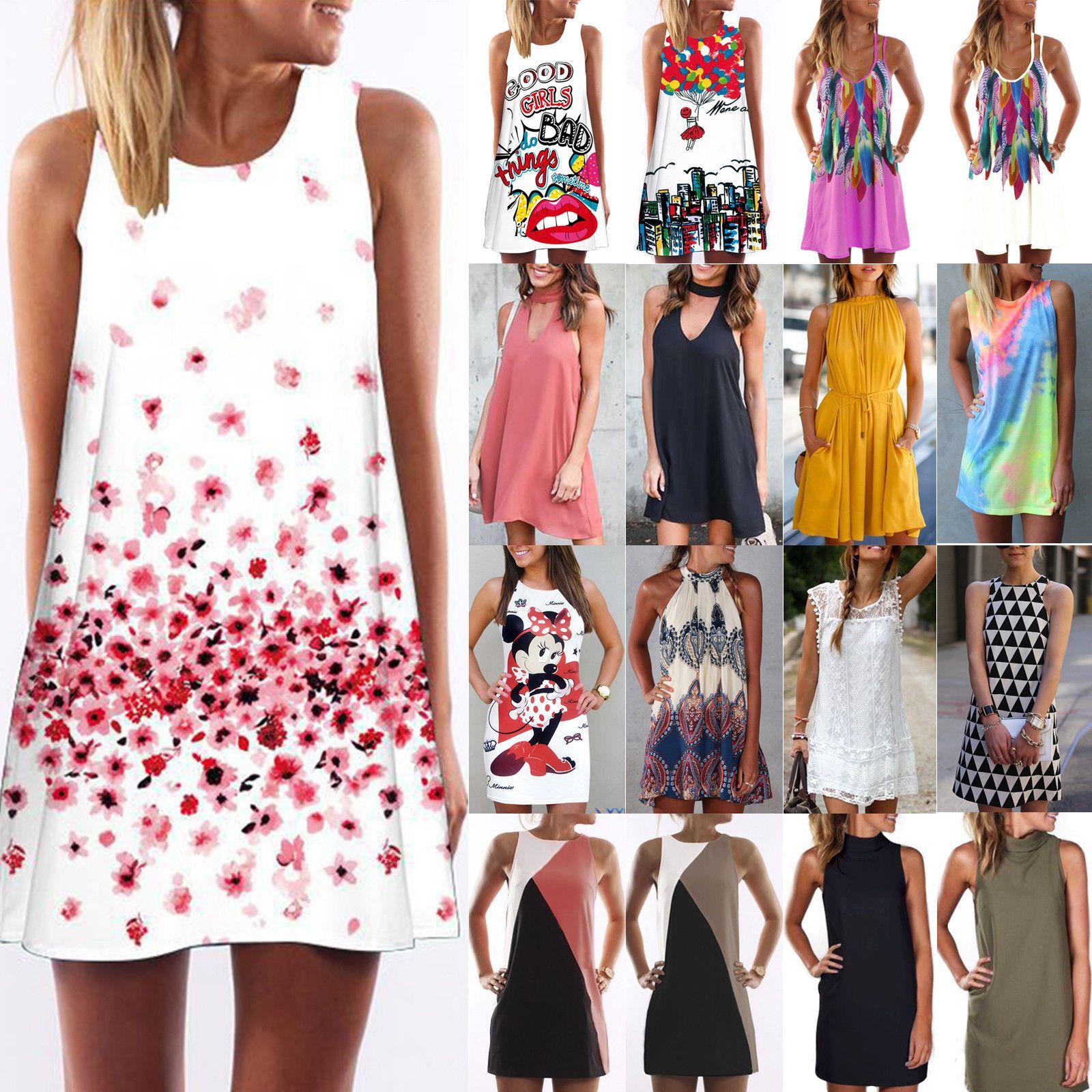 Women Summer Beach Mini Dress Sleeveless Boho Floral Swing Tank Sundress
