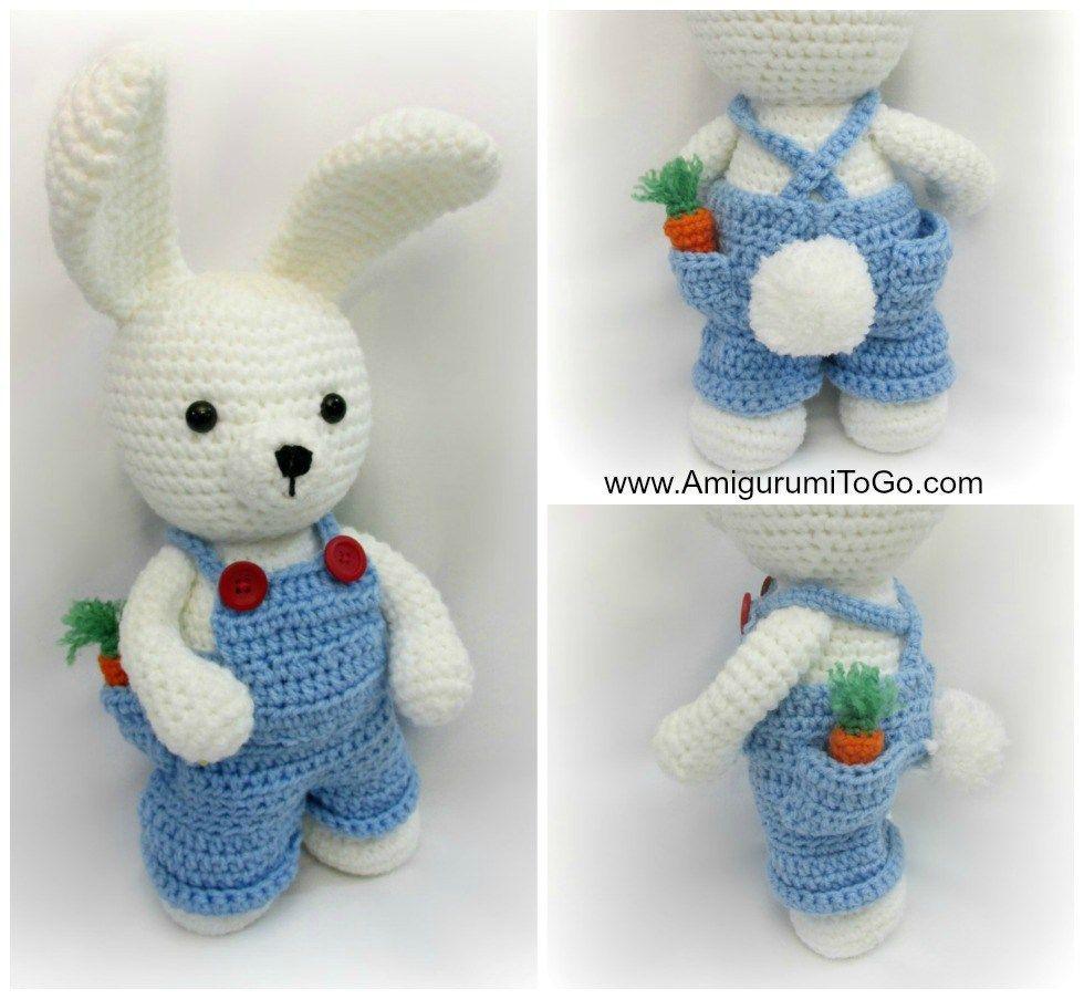 Hoy traigo un lindo conejito blanco con su peto, todo tejido en la ...