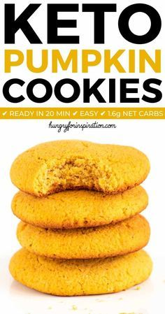 Soft Keto Pumpkin Cookies with only 1.6g net carbs that are absolutely perfect for the holiday season! Easy to make keto holiday treat.  Soft Keto Pumpkin Cookies with only 1.6g net carbs that are absolutely perfect for the holiday season! Easy to make keto holiday treat.