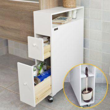 sobuy frg51 w meuble de rangement roulettes wc porte papier toilettes porte solution. Black Bedroom Furniture Sets. Home Design Ideas
