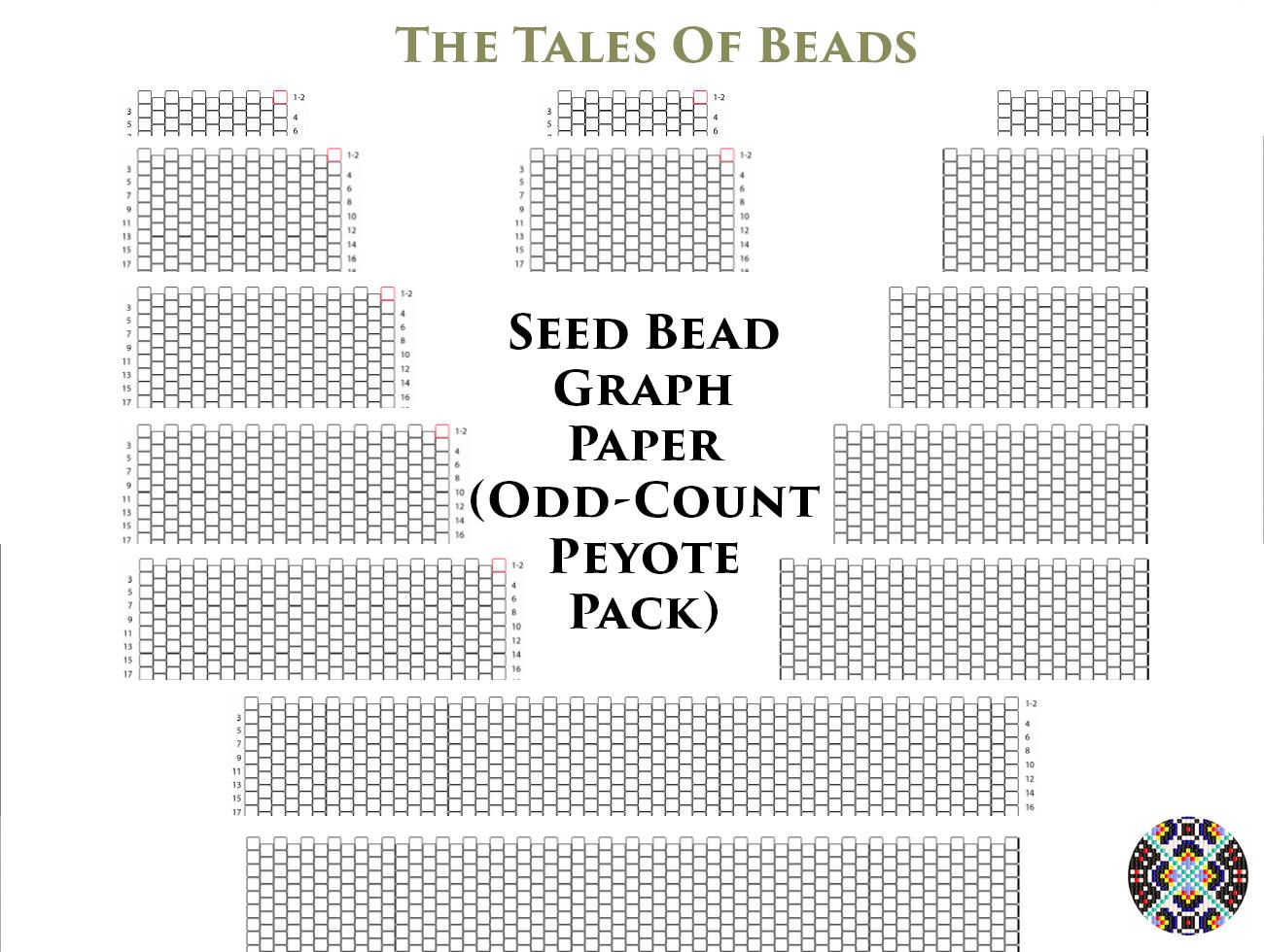 Seed Bead Graph Paper for Odd Count Peyote Bracelets Numbered Peyote ...