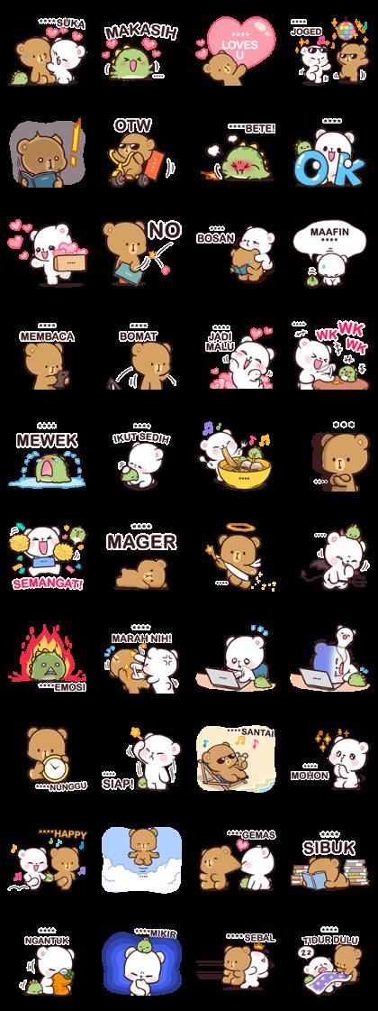 Milk Mocha Custom Stickers Sticker For Line Whatsapp Android Iphone Ios Cute Bear Drawings Custom Stickers Cute Stickers